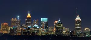 Atlanta, GA night skyline view